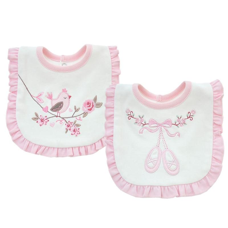 ③Baberos del bebé babero BURP algodón Encaje rosa y blanco babero ...