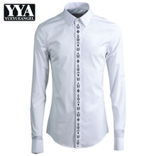 New Mens Cotton Long Sleeve Formal Shirts Geometric Embroide