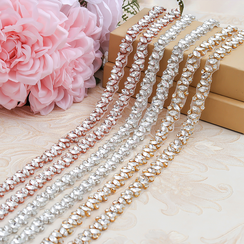 YANSTAR Wholesale Rhinestone Applique By The 10 Yards Trim For Wedding Dress Belt Thin Crystal Appliques
