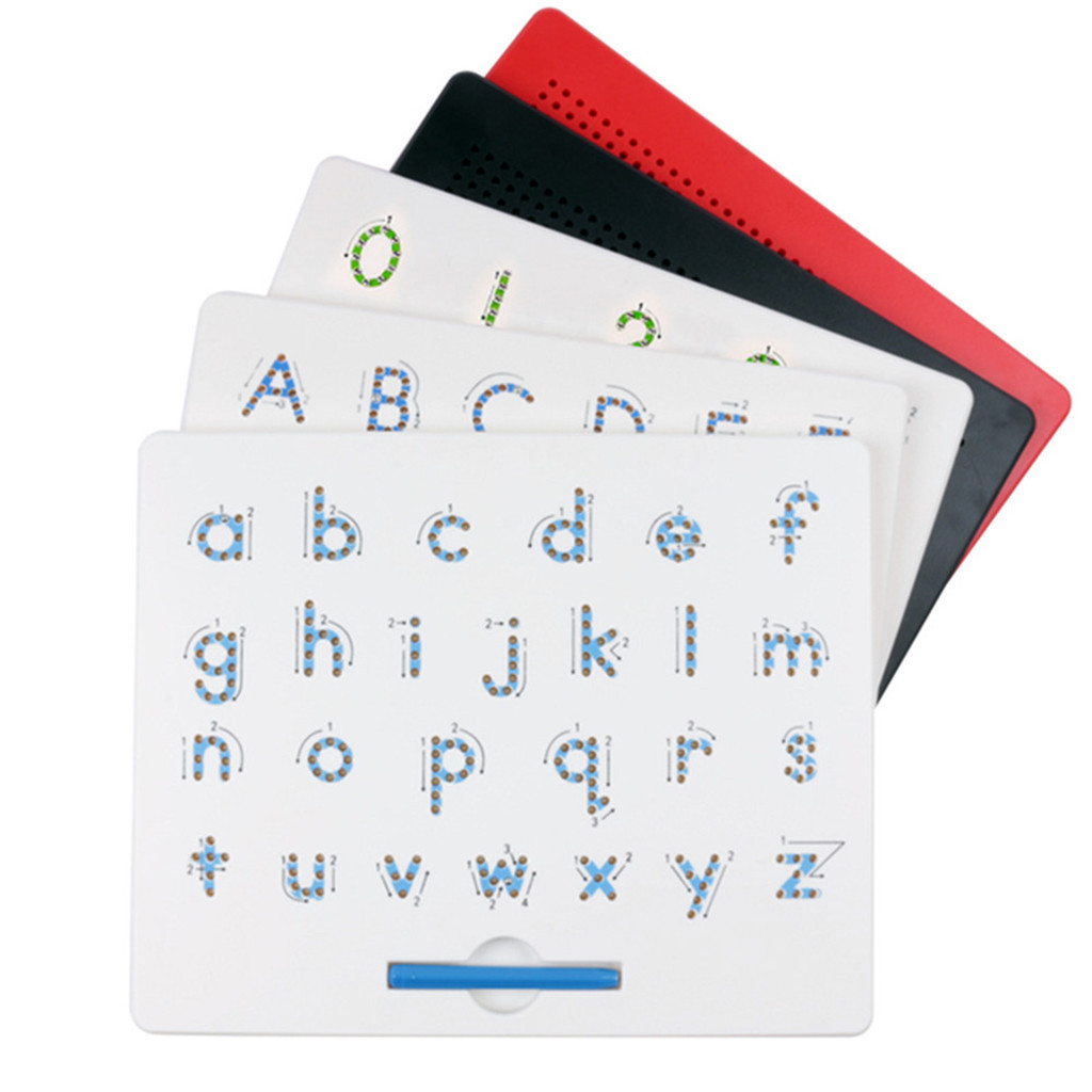 Magnetic Tablet Drawing Board Magnet Bead Pad Toy With Pens 26 Alphabet Numbers Writing Memo Board Learning Educational Kid Toy