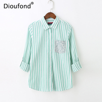 Dioufond Spring Women Sweet Striped Tops And Blouses Floral Patchwork Pocket Shirts Long Sleeve Ladies Office