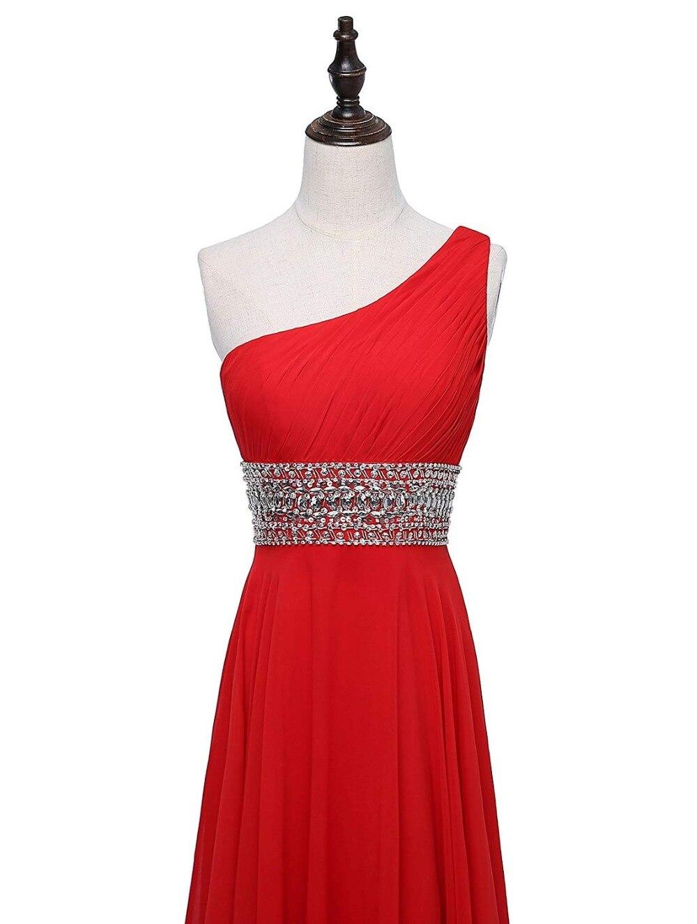 JaneVini bleu Royal mousseline de soie longues robes de demoiselle d'honneur avec des perles de cristal une ligne une épaule élégante robe femmes pour la fête de mariage - 5