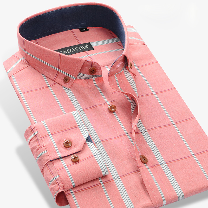 Mens Dress Plaid Shirts Fashion 2015 Spring Button Down Square Collar Business Causal 100 Cotton Comfort