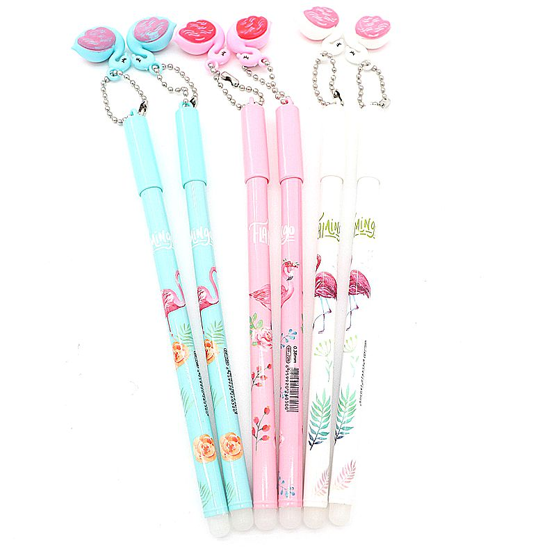 все цены на 6pcs/set Flamingo Erasable Pen 0.38mm Blue/Black Ink Magic Gel Pen for School Office Writing Supply Exam Spare Kawaii Stationery онлайн