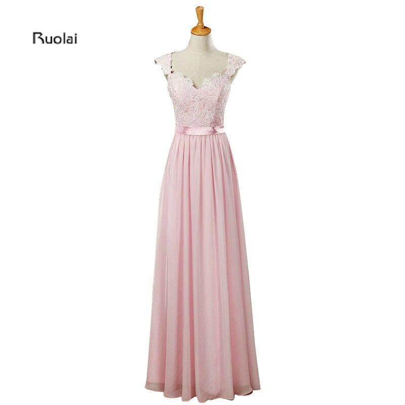 Real Sample Pink Chiffon Sheer Back Lace Applique Cap Sleeves A Line Formal Long   Bridesmaid     Dresses   Maid Of Honor   Dress