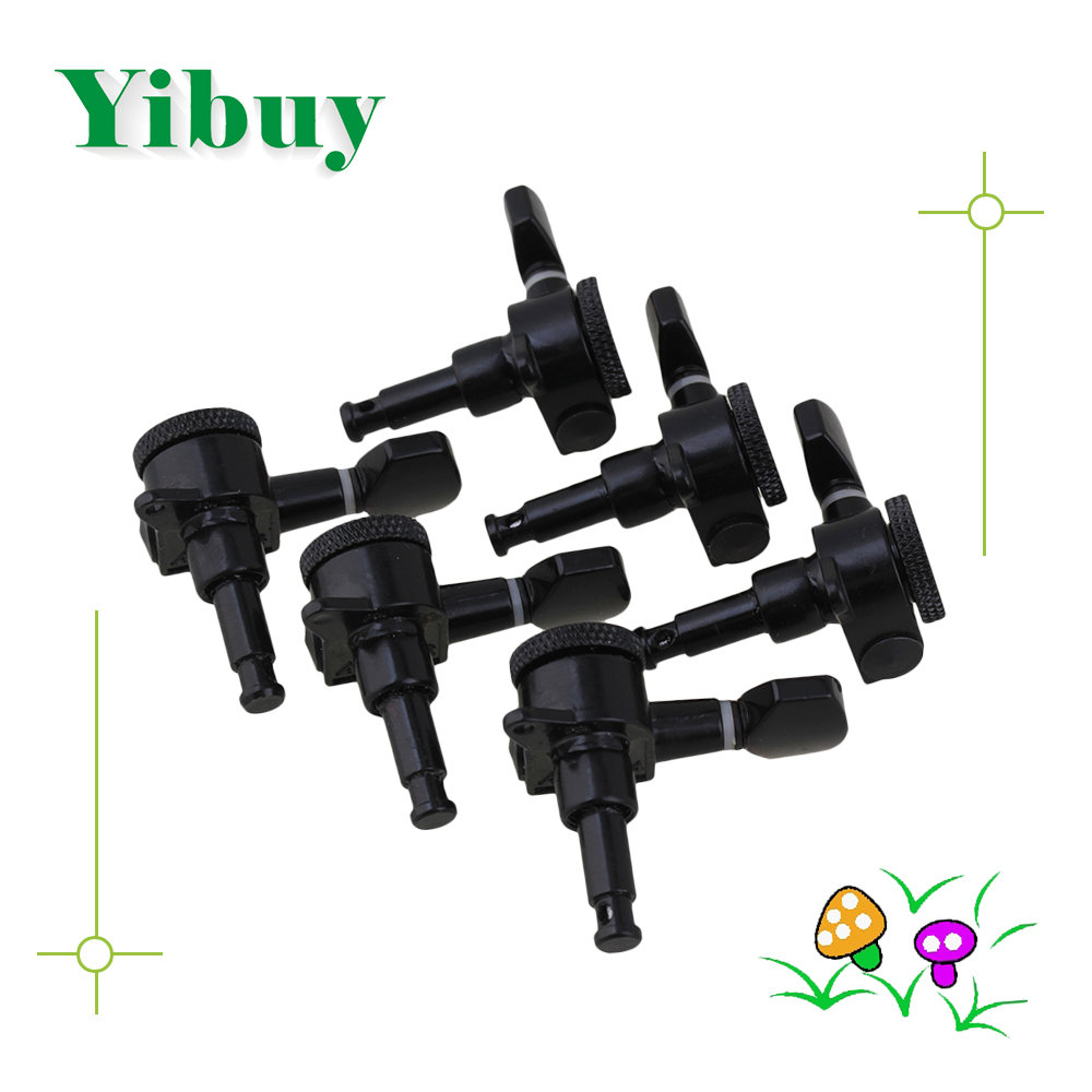 Yibuy Black Auto lock string Guitar Tuning Pegs Machine heads 3L3R 2 pc per set high end classical guitar tuning pegs machine heads black color up grade parts