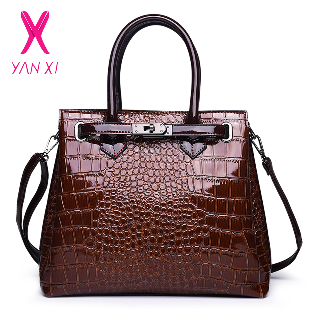 YANXI Fashion Brand Crocodile Bag Women Patent Leather Shoulder Bag Crocodile Skin Handbag Ladies Messenger Tote Women Bag stylish women s tote bag with clip closure and crocodile print design