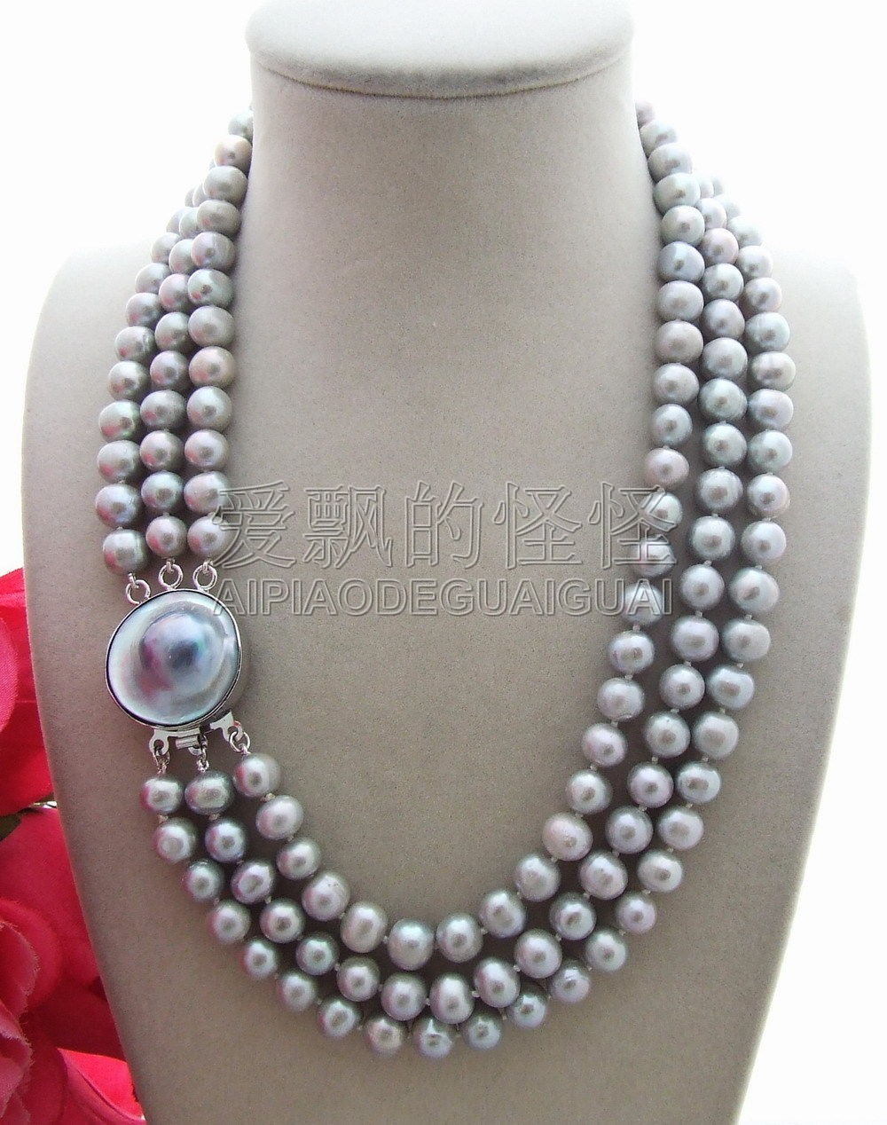 N130728 Beautiful! 9mm Grey Pearl Necklace-Mabe ClaspN130728 Beautiful! 9mm Grey Pearl Necklace-Mabe Clasp