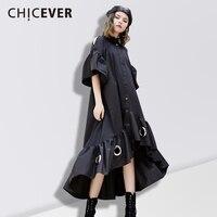 CHICEVER Spring Off Shoulder Women Dress Female Hem Asymmetrical Loose Hollow Black Women S Dresses Of
