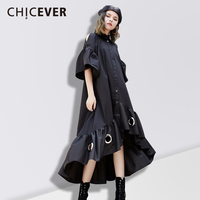 CHICEVER Spring Off Shoulder Women Dress Female Hem Asymmetrical Loose Hollow Black Women S Dresses Of