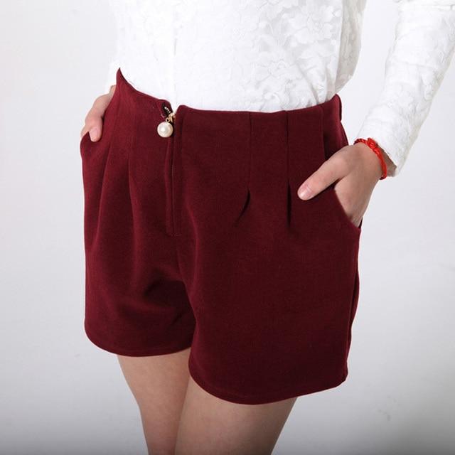 Korean Style Lady Fashion Woolen Shorts Skirts Plus Size L-3XL Black & Red Elastic Waist Women Warm Capris Shorts