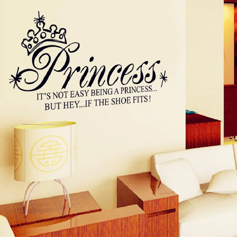 1286 European style Crown bedroom wall stickers in English cozy sofas and television background self adhesive