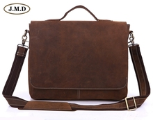 New Arrival Crazy Horse Leather Men's Messenger Bag Briefcases Laptop bag Handbag Cross Body Bags 7108R-1