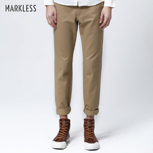 Markless весенние приталенные хлопковые длинные брюки мужские цвета хлопковые брюки повседневные универсальные плюс модные брюки для мужчин