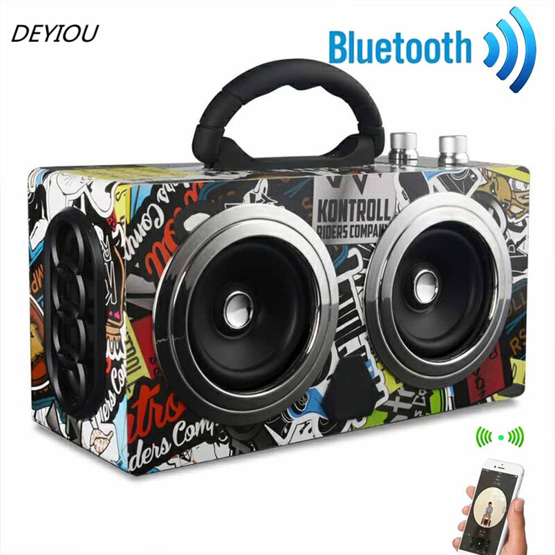 DEYIOU Wooden High Power Outdoor Bluetooth Speaker Wireless Stereo Super Subwoofer Dancing Loudspeaker Free Shipping NOM16 20w portable wooden high power bluetooth speaker dancing loudspeaker wireless stereo super bass boombox radio receiver subwoofer