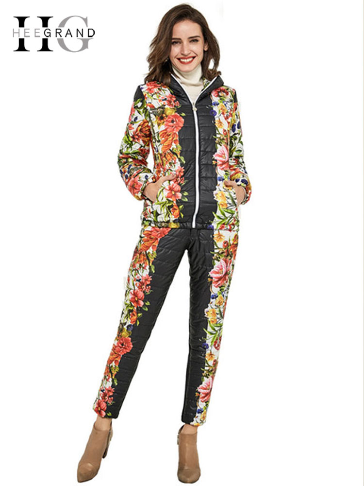 HEE GRAND 2018 Winter Jacket Women Casual Flower Printed Hooded Warm Basic   Parka   Suits (Coat+Pants Sets ) Winter Outwear WAT270