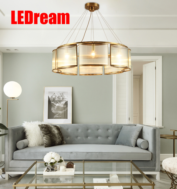 Contemporary  contracted copper crystal pendant creative pure copper glass lamp sitting room dining-room droplight 1 pc contemporary and contracted sitting room led copper dome light in the kitchen