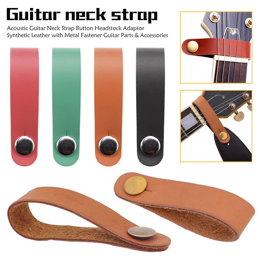 Acoustic Guitar Neck Strap Button Headstock Accessories Adaptor Synthetic Leather With Metal Fastener Guitar Parts  Classics