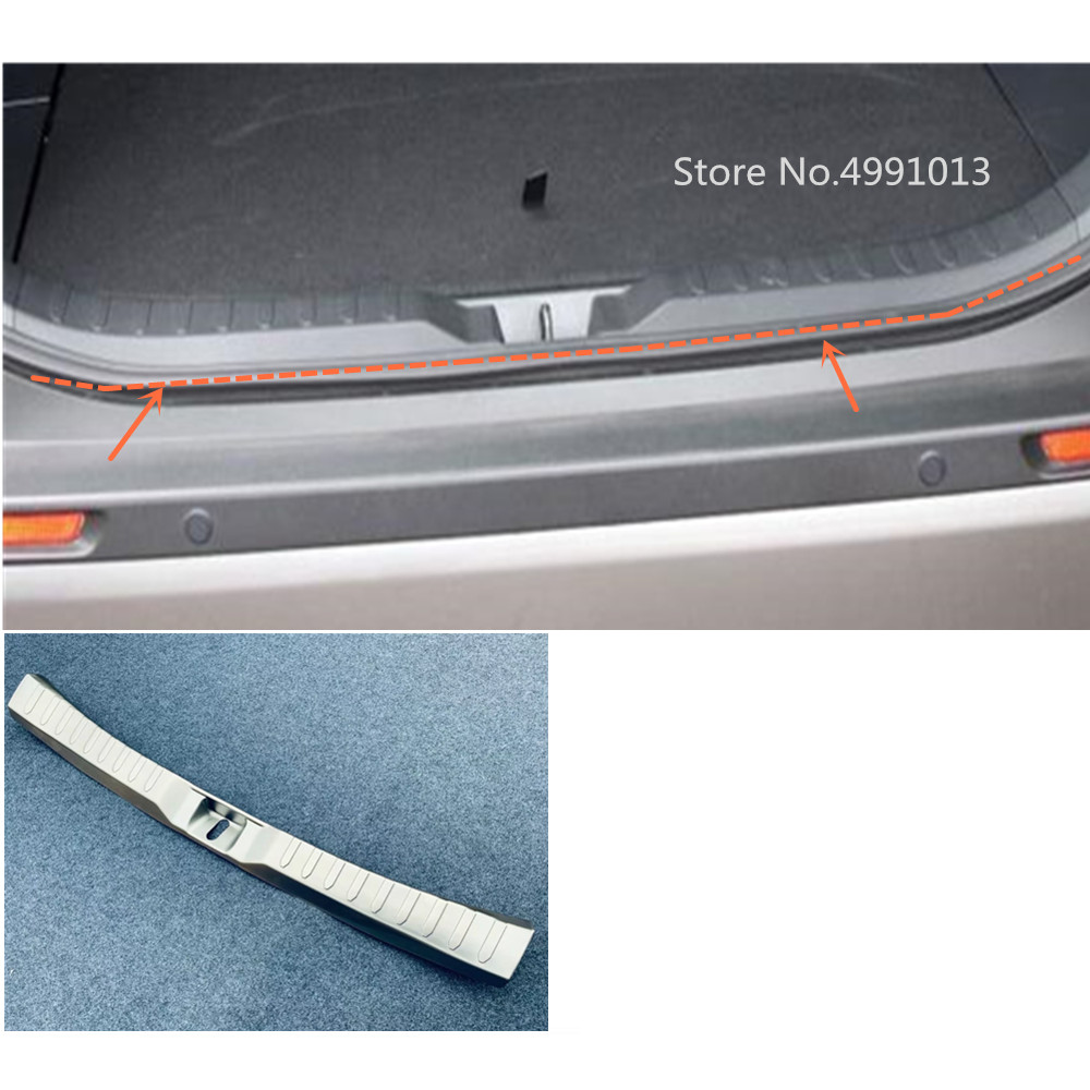 For Toyota RAV4 2019 2020 car inner inside rear bumper trim stainless steel scuff sill trunk plate pedal 1pcs-in Car Stickers from Automobiles & Motorcycles