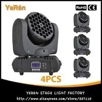 (4 pces) led moving head beam llight 36*3 w rgbw com cree conduziu a lâmpada dmx dj efeito luz iluminação de palco