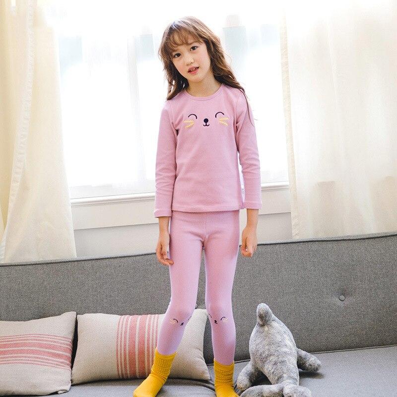 d93861147a64 baby Pyjamas Kids Korean version lace princess Pink Cotton Pajamas ...