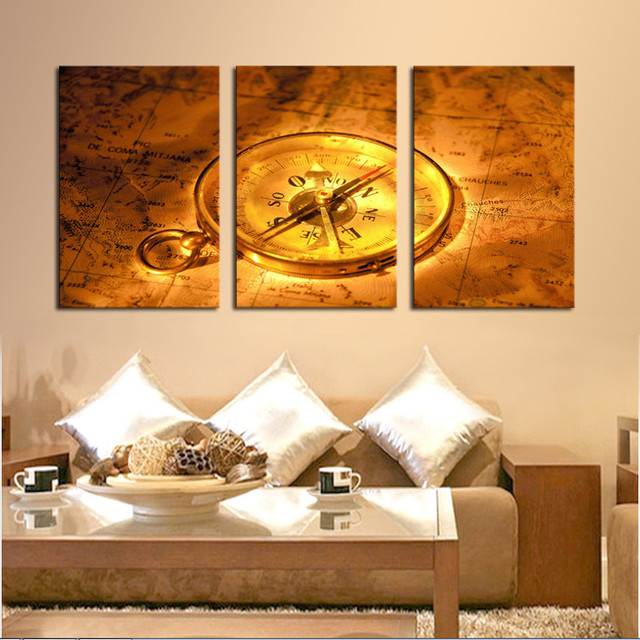 3 Piece Golden Clock Map Still Life Wall Painting Home Living Room ...