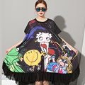 [Soonyour] 2017 плюс размер новые модные девушки мультфильм печати большие свободные маятник Черный dress девушку большой размер CS911
