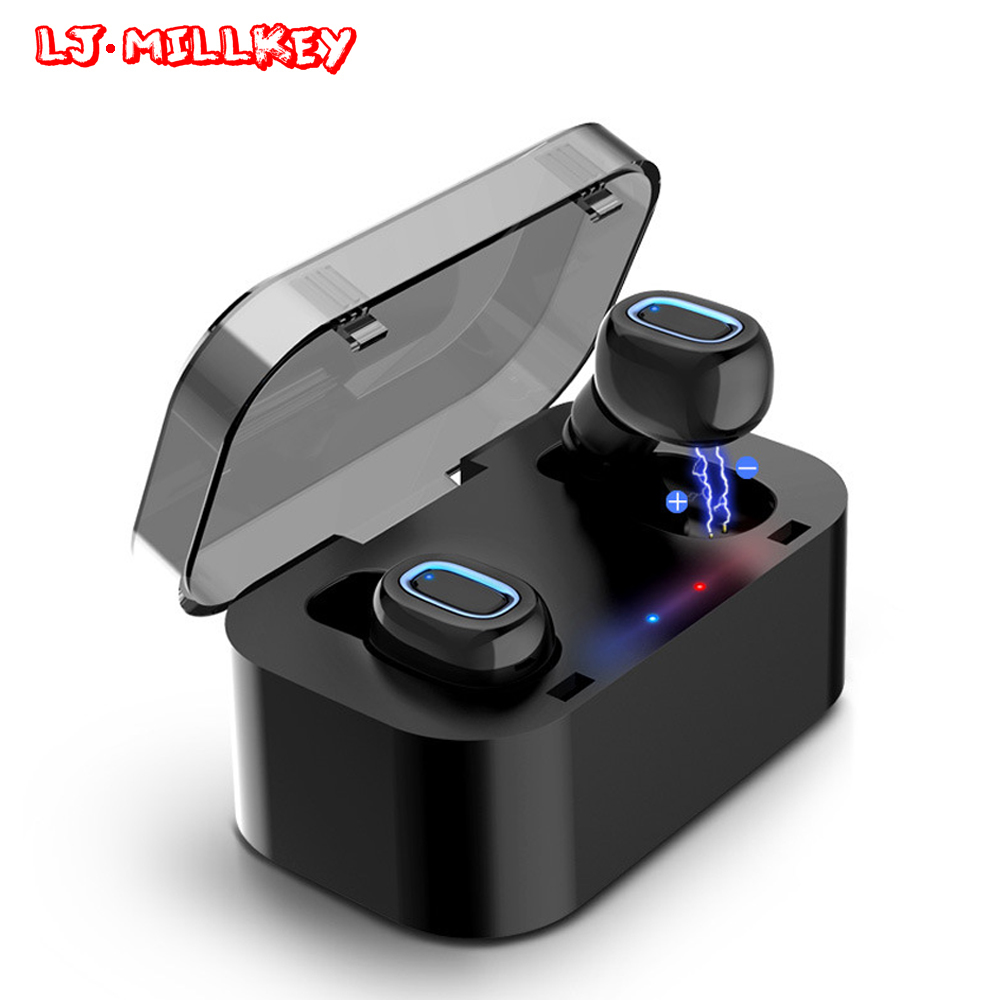 TWS Bluetooth Earphone Earbuds Touch Control Hifi Stereo Wireless Mic for Phone With Charger Charging Box Mini LJ-MILLKEY YZ132 gieftu true wireless earbuds twins x2t mini bluetooth csr4 2 earphone stereo with magnetic charger box case for mobile phone