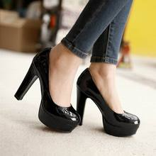 2017 New Fashion Sexy women Pumps plus size thick bottom high heels platform pumps Patent leather dress wedding shoes