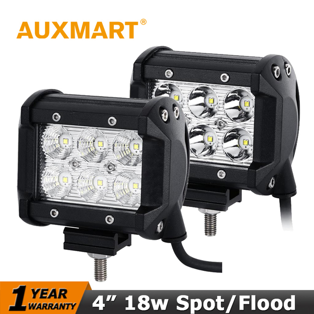 Auxmart Fichas CREE 18 W LED Trabalho Light Bar Flood Ponto Do Feixe holofotes Offroad Light Bar Fit ATV Pick-up Caminhão Para Jeep Ford Motor