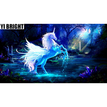YI BRIGHT 5D DIY Diamond Painting Embroidery Magical Animal Holy Unicorn With Wings Cross Stitch Rhinestone Home Decorate GT