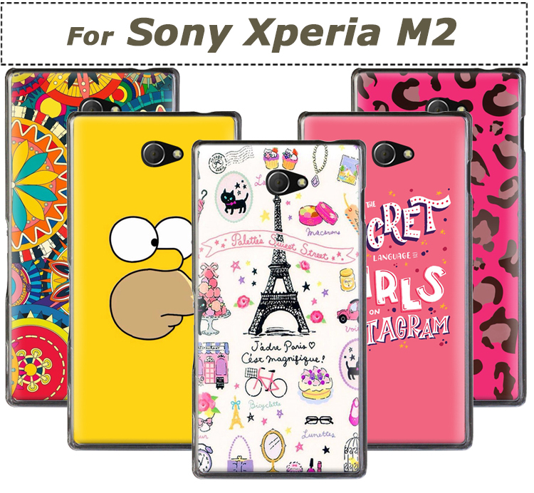brand new 6acb1 7a941 US $7.98 |Transparent Side Cartoon Print Slim Plastic Hard Back Cover for  Sony Xperia M2 Phone Cases Sony M2 cover Accessories on Aliexpress.com | ...