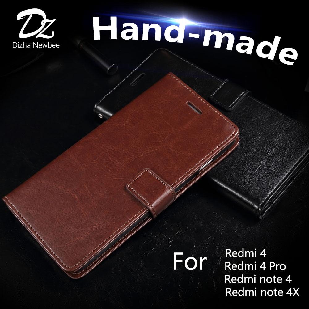 Redmi 4x 4 Pro Case Lüks Cüzdan Telefon Telefon sahibi Prime Redmi qeyd 4 4x Flip Cover Card Slot Kickstand üçün əl istehsalı