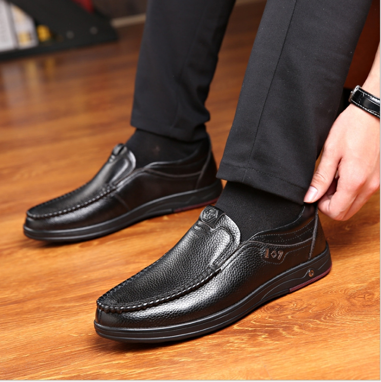 New 2019 Plus Size 48 Solid Men Casual Leather Shoes Slip On Lazy Single Shoes Man Loafers Business Office Work Shoes For Male 4
