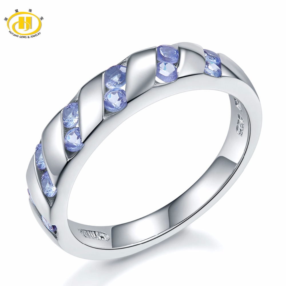 HUTANG Engagement Women's Ring Natural Tanzanite 925 Sterling Silver Rings Purple Gemstone Fine Elegant Classic Jewelry for Gift