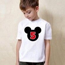 Birthday Gift Letter Mickey Lovely and Interesting Digital Cartoon Children, Boys/Girls Summer Short-sleeved White T-shirt