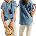 Blusas 2016 Women Short Sleeve Shirt Summer Fashion Casual Buttons Denim Turn-down Collar Solid Blouses Tops