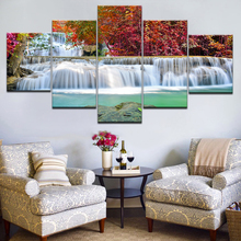 Canvas Painting Frame Wall Art Home Decor 5 Piece Red Maple Tree Lake Waterfall Landscape Poster For Living Room Pictures