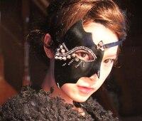 Handmade dell'annata delle donne steampunk spikes stud eye mask gotica metà viso maschere cosplay