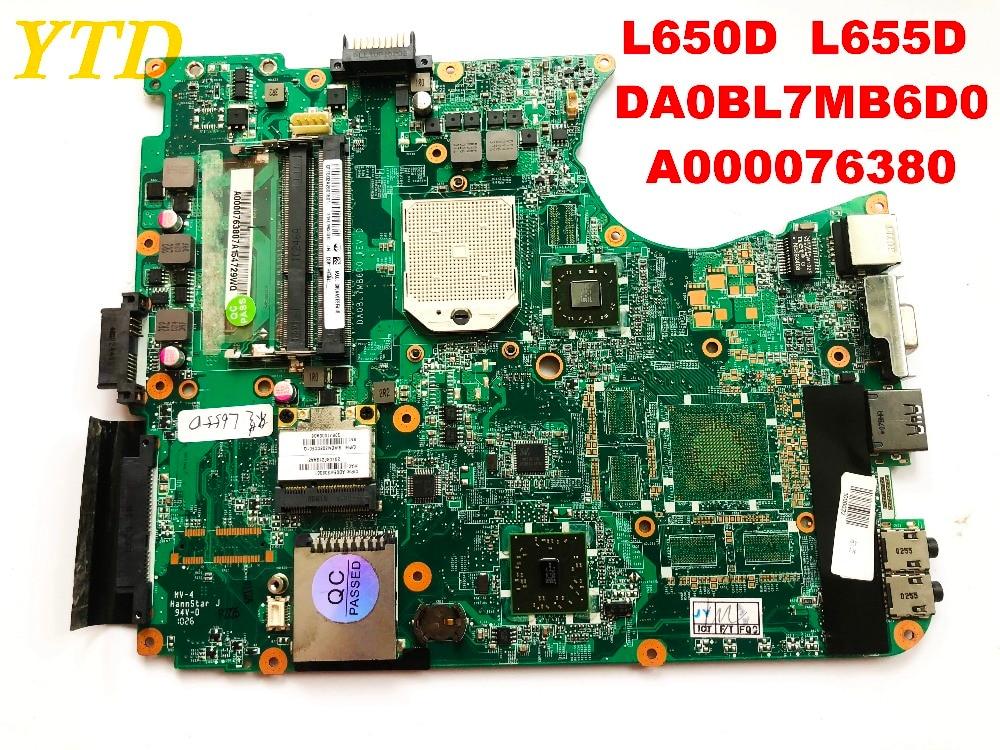 Original For Toshiba L650D L655D  Laptop Motherboard  DA0BL7MB6D0  A000076380 Tested Good Free Shipping Connectors