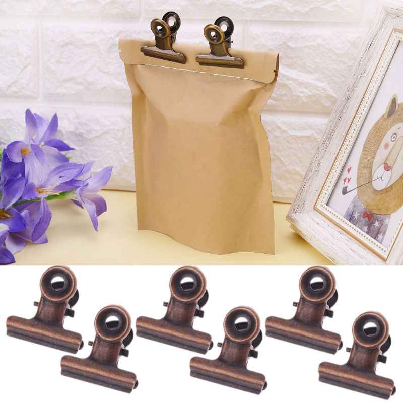 6PCS Kitchen Food Sealing Bag Clips Stainless Steel Letter Paper Photo File Binder Clip School Office Kitchen Bags Clamps 22mm