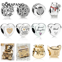 DORAPANG New 925 Sterling Silver Gold Charms For Love Dad Daughter Bead Clear CZ Fit Women