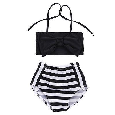 Cute Baby Kids Girl Bikini Set Swimwear Striped Triangle Bow Swimming Bathing Suit Swimsuit Proud Princess Beachwear