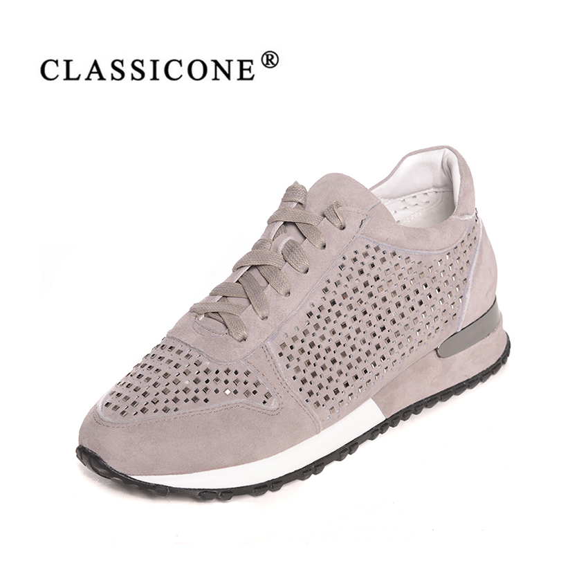 women shoes sneakers woman scoop spring autumn genuine leather flats with fashion crystal luxury decoratione Lace-Up CLASSICONE