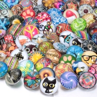 100pcs Lot Mixed Styles Pattern 18mm Glass Snap Jewelry Button For DIY Glass Button Jewelry Fit