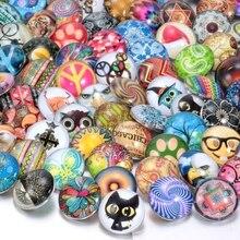 100 unids/lote Mixta 18mm broche botón joyas de cristal de cristal DIY botón snaps fit snap button pulsera Joyería