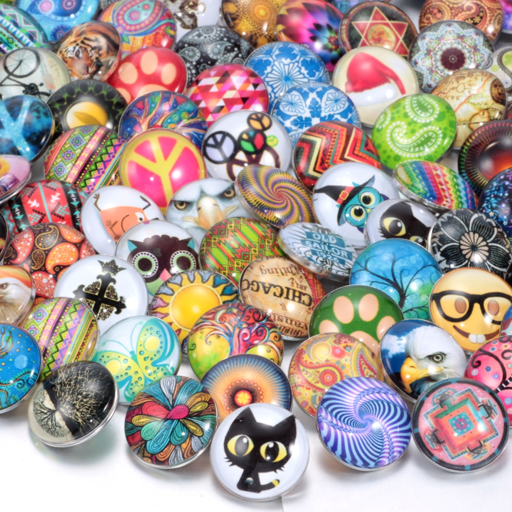 все цены на 50pcs/lot Mixed 18mm glass snap button jewelry DIY glass button snaps fit snap button bracelet Jewelry