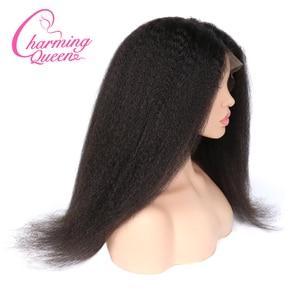 Image 2 - 챠밍 퀸 실크베이스 가발 전체 레이스 인간의 머리카락 가발 흑인 여성을위한 변태 스트레이트 브라질 레미 헤어 가발 베이비 헤어