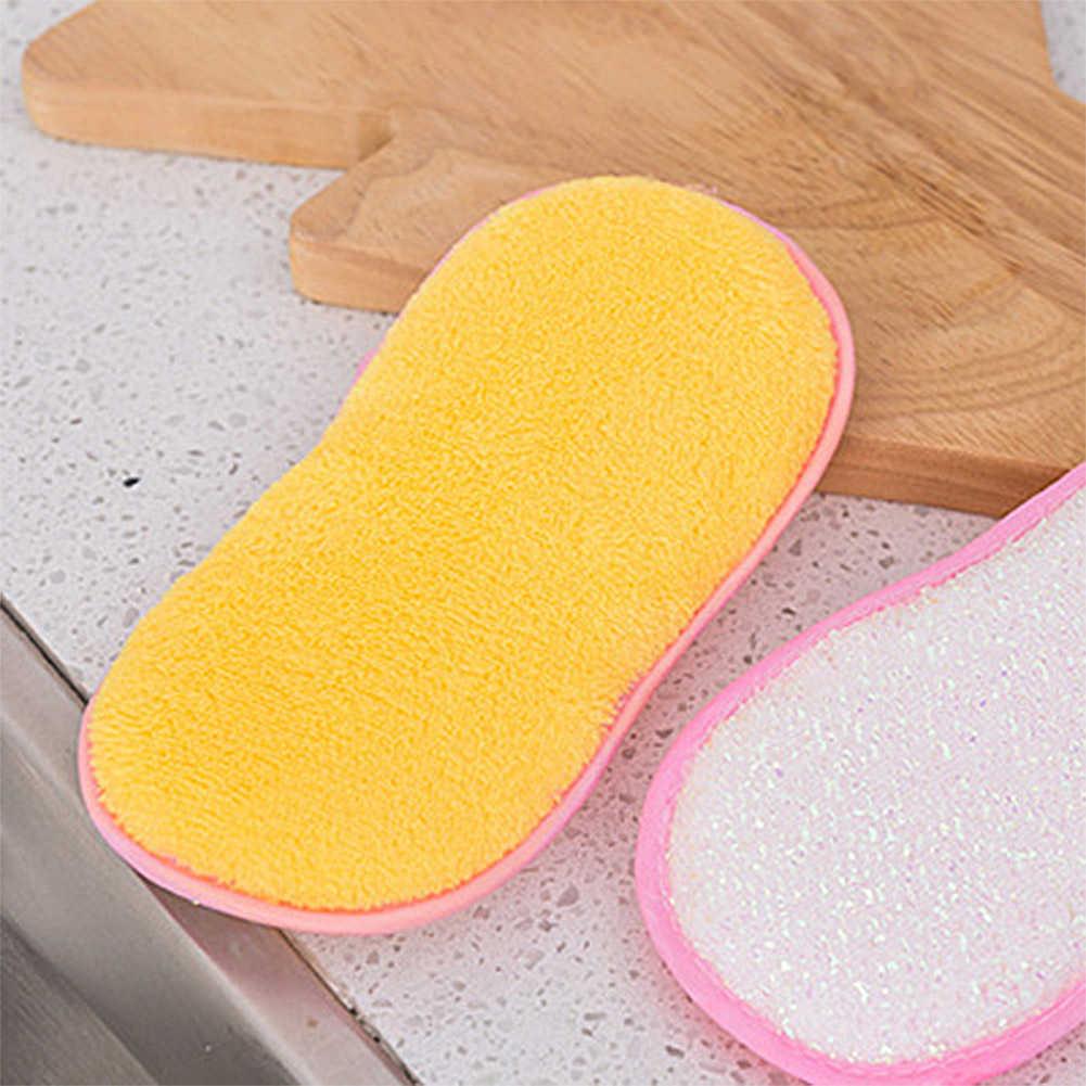 Paños de limpieza de fibra de bambú de cocina paños antibacterianos de doble cara plato de lavado toalla esponja de lavado