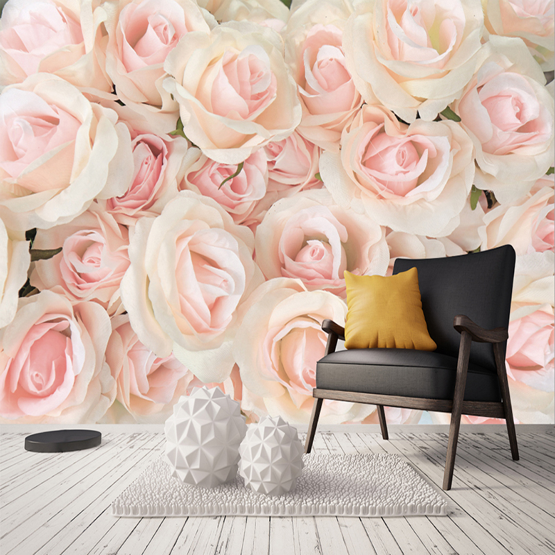 Custom Any Size 3D Photo Wall Paper Modern Romantic Pink Rose Floral Living Room Bedroom Non-woven Wall Mural Wallpaper Flower